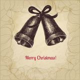 Artistic vintage Christmas card with hand drawn Stock Photography