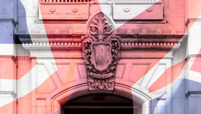 Artistic Vision Council House Birmingham Forward Keystone. Blended with British Flag Fine Art Background Texture Shallow Depth of Field Royalty Free Stock Image