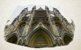 Artistic Vision of North Facade Westminster Abbey London Stock Photos