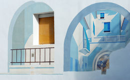 Artistic wallpainting. Painting on a façade with 3D effects Royalty Free Stock Photography
