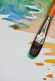 Artistic watercolor brush. Artistic brush painting on white watercolor paper Royalty Free Stock Photography