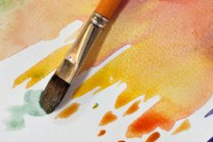 Artistic watercolor brush. Artistic brush painting on white watercolor paper Royalty Free Stock Photo