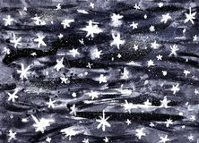 Artistic watercolor calm night sky background with shining stars. Hand drawn space galaxy illustration stock illustration
