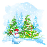 Artistic watercolor Christmas tree and snowman Stock Images