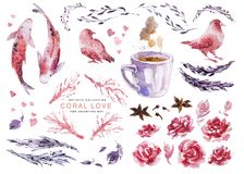 Artistic watercolor collection of love elements for Valentine day & wedding celebration cards, posters, prints, leaflets. Fish ,birds couple, coral plant Stock Photography
