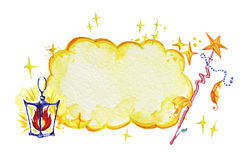 Artistic watercolor hand drawn magic illustration with fairy yellow cloud, stars, wizard wand and lantern isolated on white backgr. Ound. Fairy tale magician Royalty Free Stock Photos