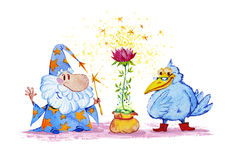 Artistic watercolor hand drawn magic illustration with stars, wizard, blue crow and pink flower. Isolated on white background. Fairy tale magician. Children Royalty Free Stock Photo
