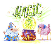 Artistic watercolor hand drawn magic illustration with stars, wizard isolated on white background. Fairy tale magician. Children illustration Stock Image