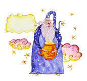 Artistic watercolor hand drawn magic illustration with stars, wizard with magic pot and clouds. Isolated on white background. Fairy tale magician. Children Royalty Free Stock Image