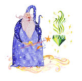 Artistic watercolor hand drawn magic illustration with stars, wizard with magic wand conjuring magic diamond. Isolated on white background. Fairy tale magician Royalty Free Stock Image