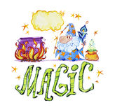 Artistic watercolor hand drawn magic illustration with stars, wizard, pot on fire, feather and magic powder in small bag Stock Images