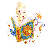 Artistic watercolor hand drawn magic illustration with stars, wizard spell book, feather, magic wand and fairy smoke. Isolated on white background. Fairy tale Royalty Free Stock Photo