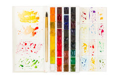 Artistic watercolor paint and brush in plastic box with palette Royalty Free Stock Photography