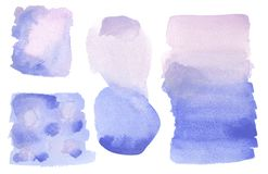 Artistic Watercolor Wash Background Blue, lilac, purple isolated stock illustration