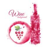 Artistic watercolor wine background Stock Photo