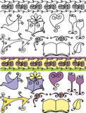 Artistic wedding icons. A collection or set of various artistic items related to weddings. Suitable for wedding invitations and announcements Royalty Free Illustration