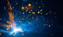 Artistic welding sparks light Stock Photos