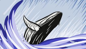 Artistic whale that exits the water Royalty Free Stock Image
