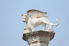 Artistic White statues of Lion  in Italy Stock Photos