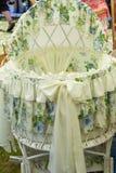 Artistic wickerwork willow. Design decoration., Crib for Baby stock photos
