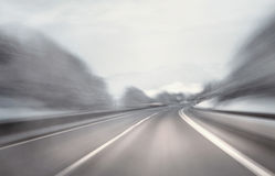 Artistic winter highway driving Stock Photo