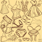 Artistic woman underwear and clothes Stock Image