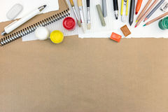 Artistic Work Tools: Paints, Colored Pencils And Chalks, Different Paintbrushes Stock Photos