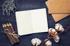 Artistic workplace mock up. With watercolor paper and painting supplies Royalty Free Stock Images