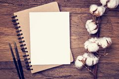 Artistic workplace mock up. With brushes and watercolor paper Royalty Free Stock Photos