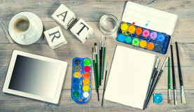 Artistic workplace mock up with painting tools and items. Artistic workplace mock up. Watercolor, brushes, paper, painting tools and items. Back to school royalty free stock photos