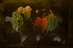 Artistic World Map. World map on brown background Royalty Free Stock Photos