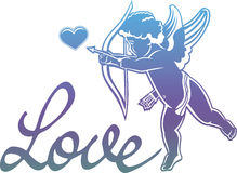 Artistic written single word `Love!` and Cupid hunting for hearts. Stock Images