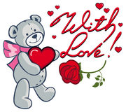Artistic written text With love! and cute teddy bear holding r Stock Photo