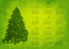 Artistic 2015 year vector calendar. Hand drawn fir tree with presents Royalty Free Stock Image
