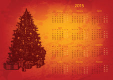 Artistic 2015 year vector calendar. Hand drawn fir tree with presents Stock Photography