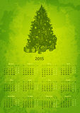 Artistic 2015 year vector calendar. Hand drawn fir tree with presents Royalty Free Illustration