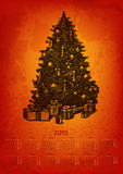 Artistic 2015 year vector calendar. Hand drawn fir tree with presents Stock Images