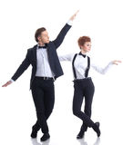 Artistic young businessmen dancing in studio Royalty Free Stock Images