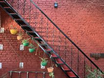 artistically Decorated wall and courtyard. stock image