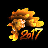 Artistically drawn bright fire rooster. On dark background. Symbol 2017 New year. Vector illustration Royalty Free Stock Image