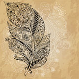 Artistically drawn, stylized,  tribal graphic feathers with hand drawn swirl doodle pattern. Grunge background. Illustration Royalty Free Stock Image