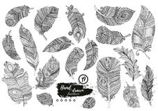 Artistically drawn, stylized, vector set of boho feathers on a white background. Vintage tribal feather. Royalty Free Stock Photos