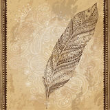Artistically drawn, stylized, vector tribal. Artistically drawn, stylized vector tribal graphic feather with hand drawn swirl doodle pattern. Grunge background Royalty Free Stock Photos