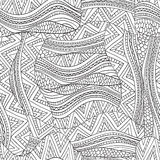 Artistically ethnic waves pattern in doodle style. Artistically ethnic pattern. Hand-drawn, ethnic and floral and doodle and vector tribal design element Stock Images