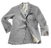 Artistically folded light grey jacket for spring. Artistically folded light grey twill or tweed patterned jacket for springtime displayed isolated over white in Stock Photos
