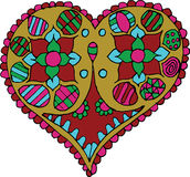 Artistically hand drawn, zentangle stylized heart vector - color Royalty Free Stock Image