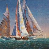artistically Lyftt seglar Författare: Nikolay Sivenkov stock illustrationer