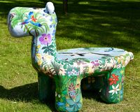 Artistically Painted Animal Bench at Zoo stock photos