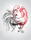 Red rooster. Artistically painted red rooster with a black tail with a gray background Royalty Free Stock Photography