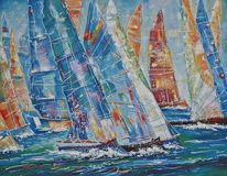 artistically Regatta av stora yachter Författare: Nikolay Sivenkov stock illustrationer